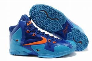 Brand Quality Lebron James 11 Blue Orange Shoes