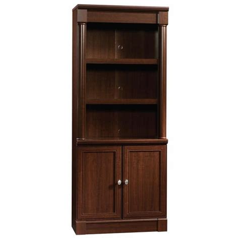 Sauder Bookcase Cherry by Sauder Harbor View Curado Cherry 2 Door 1 Drawer Bookcase