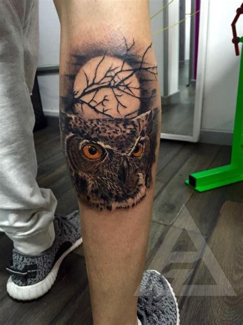 owl tattoo  leg calf  alex gallo