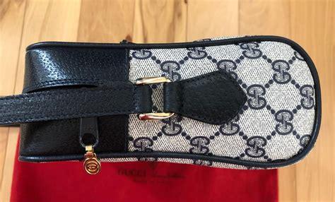 gucci vintage ophidia navy monogram leather camera blue canvas cross body bag tradesy