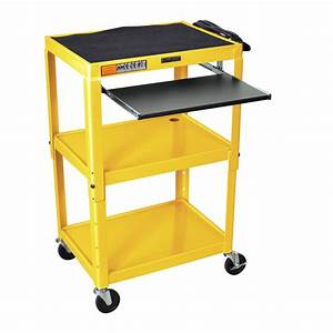 Yellow Compact Mobile Standing Computer Cart Workstation