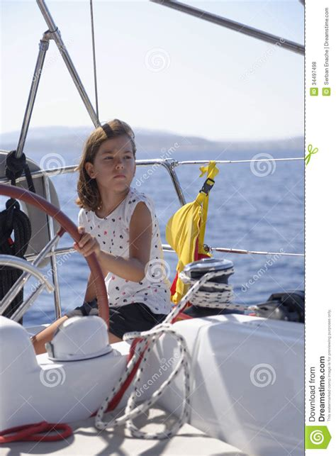 Girls On Boats by Girl On Sailing Boat Stock Photo Image Of Cute