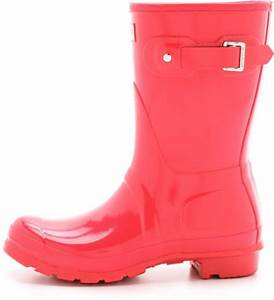 Hunter Original Short Gloss Boots - Bright Plum in Red ...