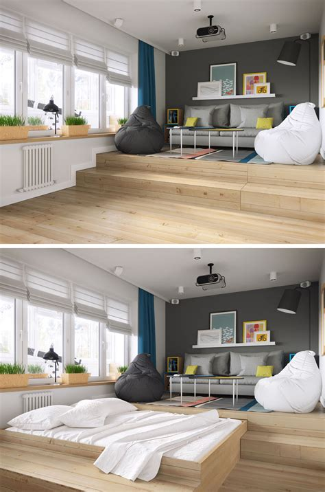 hiding bed in studio a clever design solution for a bed in a small apartment contemporist