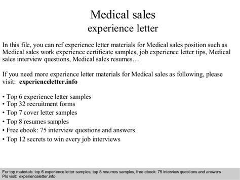 sales experience letter