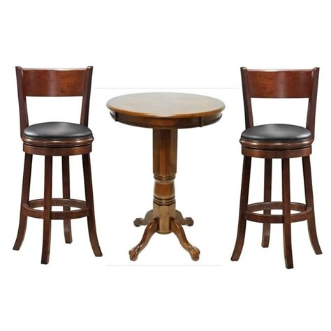 boraam 3 pub table set in walnut walnut3pc