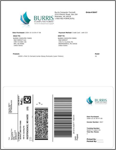 printing shipping labels   company logo burris