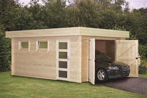 Garage : Flat Roof Log Cabin Garage 45mm