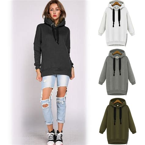 2015 Fashion Women Drawstring Hoodie Zip Up Zipper Side ...