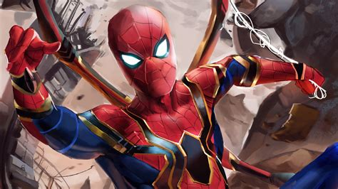 iron spider suit in infinity war hd wallpaper