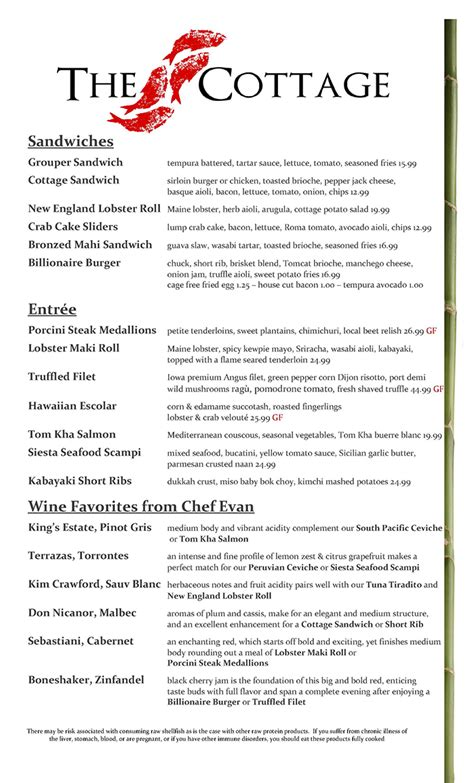 The Cottage Dinner Menu by Dinner Menu Page 2 The Cottage Siesta Key