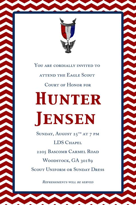 hunters eagle court  honor invites  etsy eagle