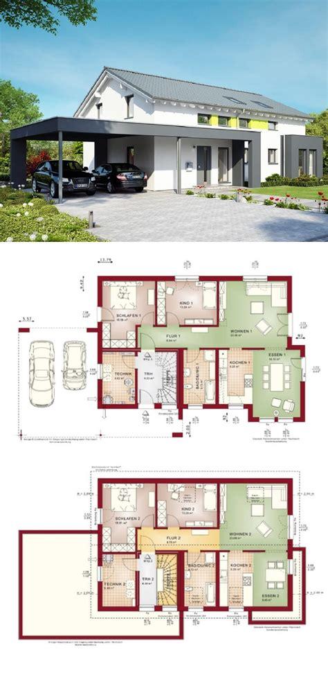 Zweifamilienhaus Modern Mit Satteldach Und Carport Haus