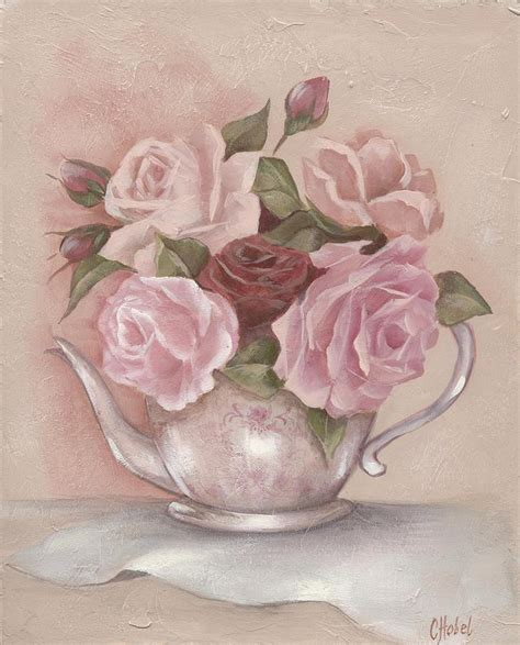 shabby chic paintings teapot roses painting by chris hobel