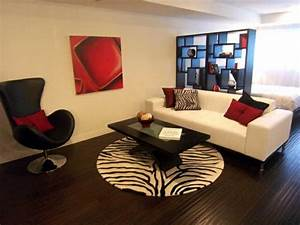 red black and white living room ideas with white sofa With black white and red living room decor