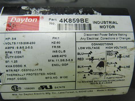 dayton 4k859be 3 4 hp electric motor capacitor start 115 208 230v 1725 rpm ebay