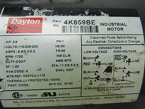 Dayton 4k859be 3  4 Hp Electric Motor Capacitor