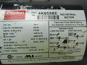 Dayton 4k859be 3  4 Hp Electric Motor Capacitor 208