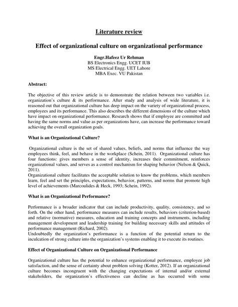 literature review  organizational culture