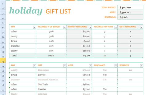 gift list template for excel 2013