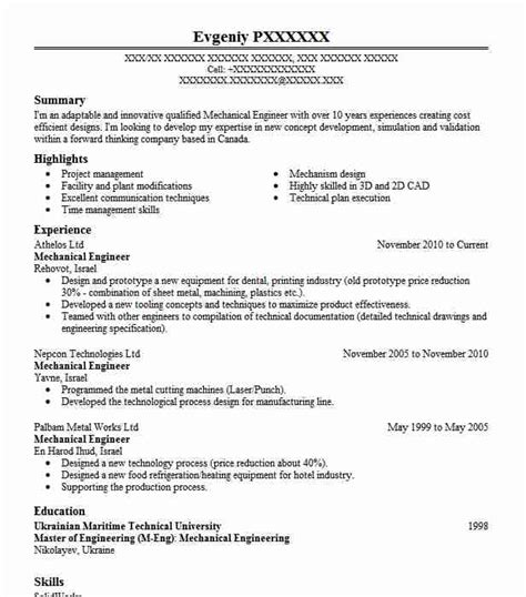 Mechanical Resume Objective by Mechanical Engineer Objectives Resume Objective Livecareer