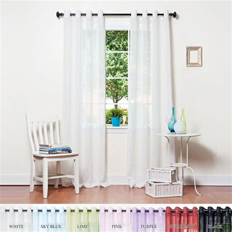 crushed voile curtains grommet white crushed voile sheer grommet top curtain 95 quot l pair
