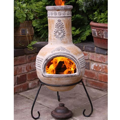 Chiminea On Sale - gardeco clay chiminea azteca design large 130cm on sale