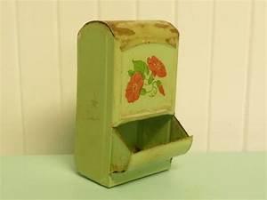 Primitive Metal Matchbox Holder Safe, Old Light Jadeite