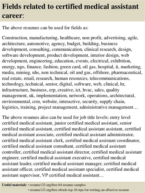 top 8 certified assistant resume sles