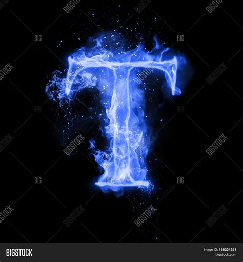 Fire Letter T Burning Blue Flame. Image & Photo