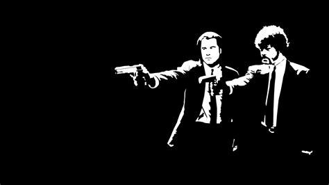 Pulp Fiction Wallpaper 1080p Full Hd Wallpaper Pulp Fiction Black And White John Travolta Samuel L Jackson Desktop