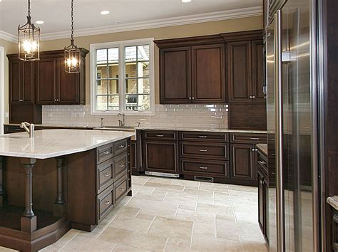 Kitchen Floors And Countertops by Cherry Kitchen Cabinets With Gray Wall And Quartz