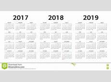 Vector Las Plantillas Del Calendario 2017, 2018, 2019