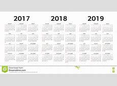 Vector Las Plantillas Del Calendario 2017, 2018, 2019