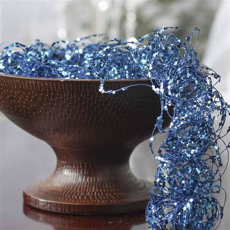 blue glitter  sequin twisted wire garland vase