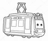 Tram Coloring Metro Pages Illustrator Train Depositphotos Hft Mts Paper Printable sketch template