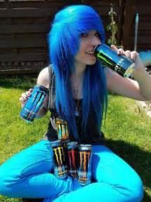 Monster Energy Girl Blue Hair Emo