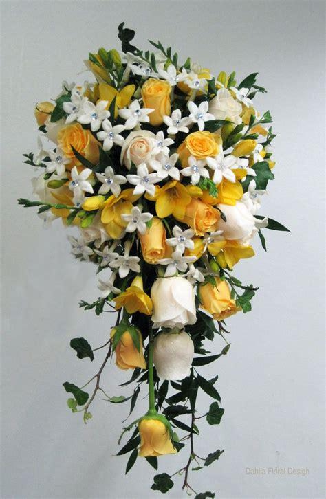 Yellow White Rose Stephanotis Cascade Bridal Wedding