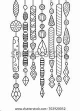 Coloring Wind Chimes Outlined Doodle Shutterstock Antistress sketch template