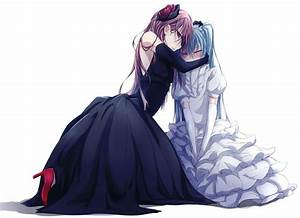 Vocaloid, Dress, Hatsune, Miku, Megurine, Luka, Red, Eyes, Blush, Anime, Girls, High, Quality, Wallpapers