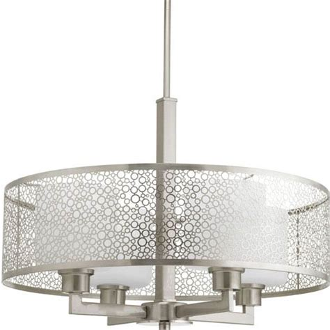 brushed nickel drum chandelier progress lighting p5156 09 mingle brushed nickel 21 inch
