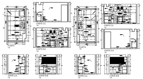 kitchen  hotel  sided section plan  auto cad details dwg file cadbull