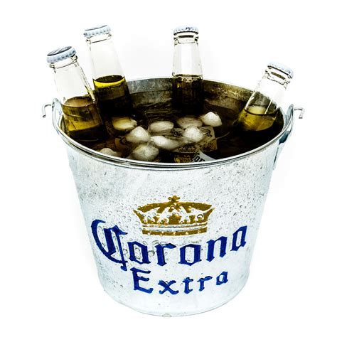 corona galvanised style metal ice bucket party drink