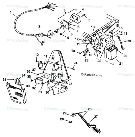 polaris atv 1998 oem parts diagram for electrical taillight s98ch50e 4950135013c007