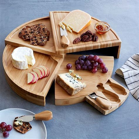 compact swivel cheese board  knives cheese knives