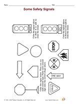 safety signals  images worksheets  kids