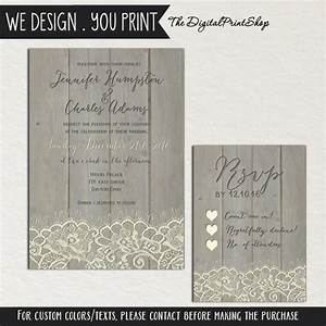 Rustic wedding faux wood invite printable carved lace for Digital wedding invitations with rsvp