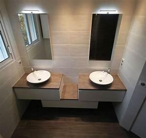 attrayant meuble salle de bain teck leroy merlin 4 With porte de douche coulissante avec meuble salle de bain en bois double vasque