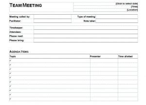 informal meeting agenda template word excel formats