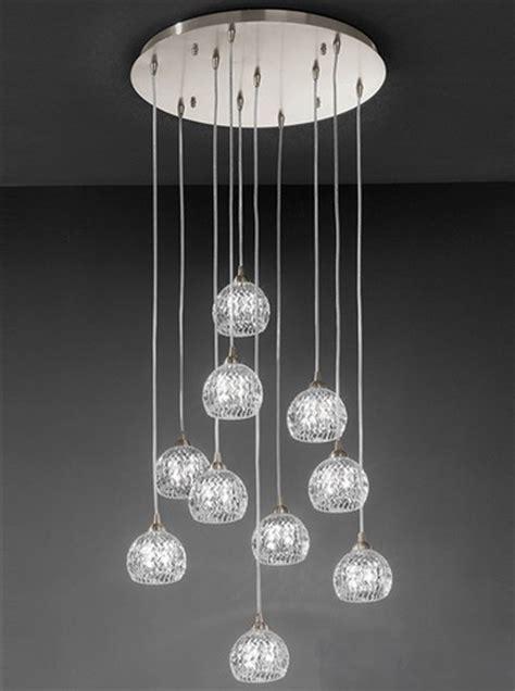 Franklite Tierney 10 Light Ceiling Pendant, Satin Nickel